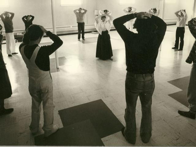 1 17 Ruth Denison (center of circle) studied in Burma in the early 1960s and is shown here leading a mindful movement session.