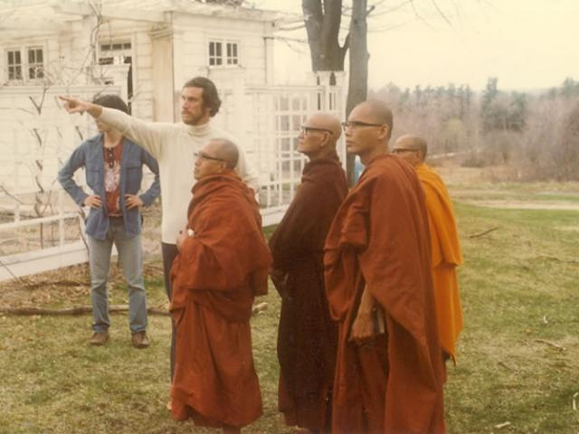 1 22 Joseph Goldstein gives Mahasi Sayadaw (2nd from left in robes) and his monks a tour of the IMS grounds.