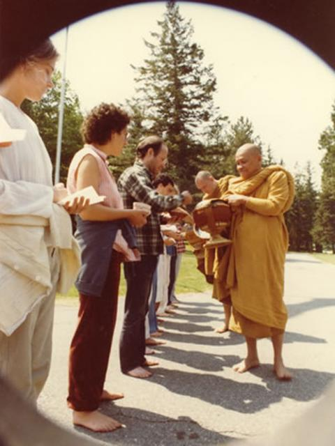 1 23 Thai meditation master Ven. Ajahn Chah on alms round at IMS during his 1979 visit.