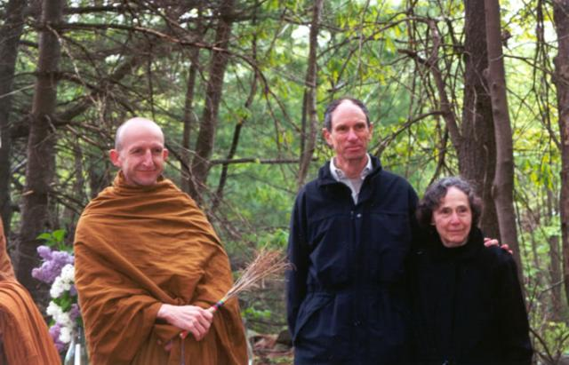 3 05 Ajahn Amaro, Joseph Goldstein and Sarah Doering at a blessing ceremony, May 16, 2001 on the site of the Forest Refuge.
